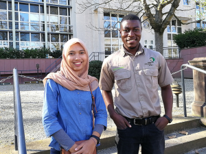 cofAndhani Hartanti (Indonesia) and Issah Mulilo (Zambia) at the headquarter of Frankfurt Zoological Society. (Photo: Christina Götz)